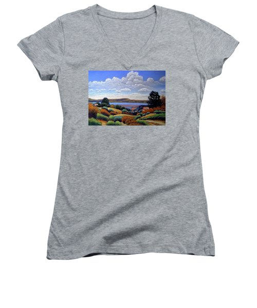 Women's V-Neck T-Shirt (Junior Cut) featuring the painting Above San Mateo by Gary Coleman