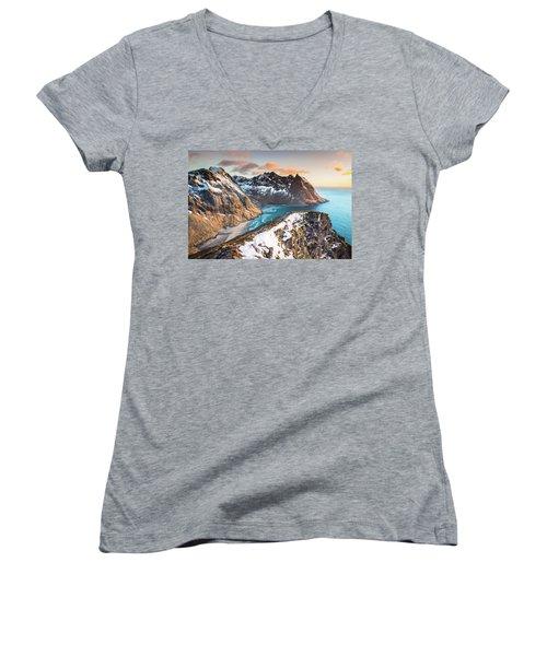 Above The Beach Women's V-Neck T-Shirt (Junior Cut) by Alex Conu