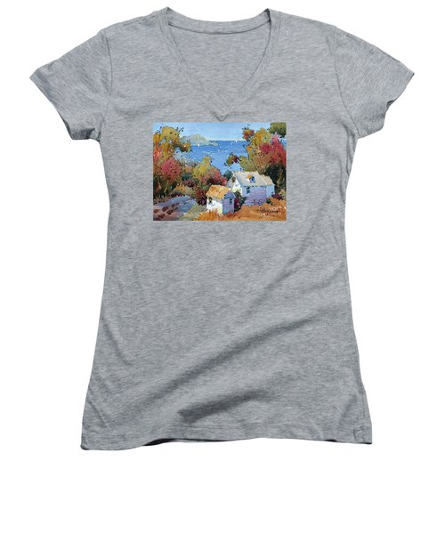 Above The Pacific Women's V-Neck T-Shirt