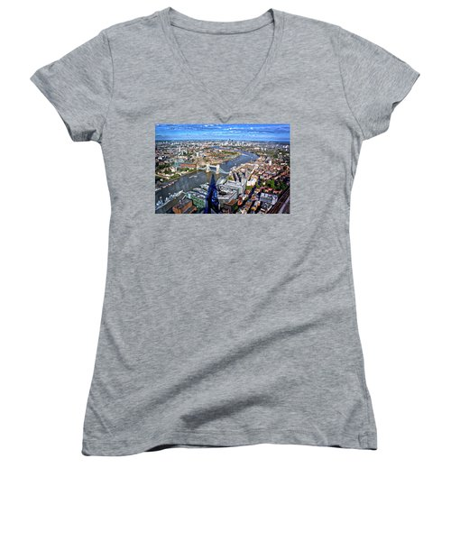 Women's V-Neck T-Shirt (Junior Cut) featuring the photograph Above The Shadow Of The Shard by Jim Albritton