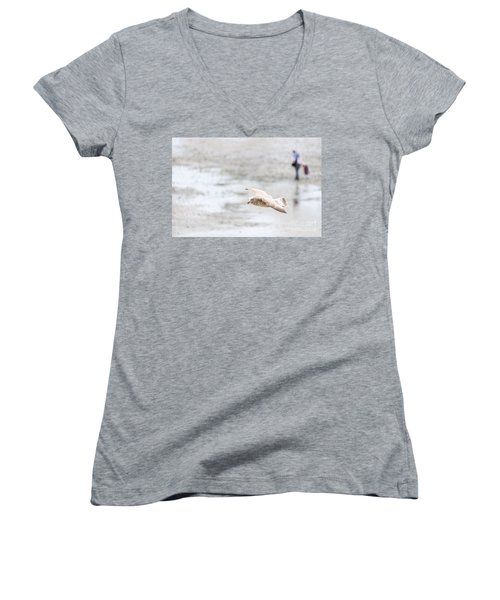 Women's V-Neck T-Shirt (Junior Cut) featuring the photograph Above The Watten Sea 2 by Hannes Cmarits