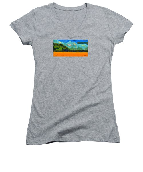 Women's V-Neck T-Shirt (Junior Cut) featuring the digital art Above The Woods by Spyder Webb