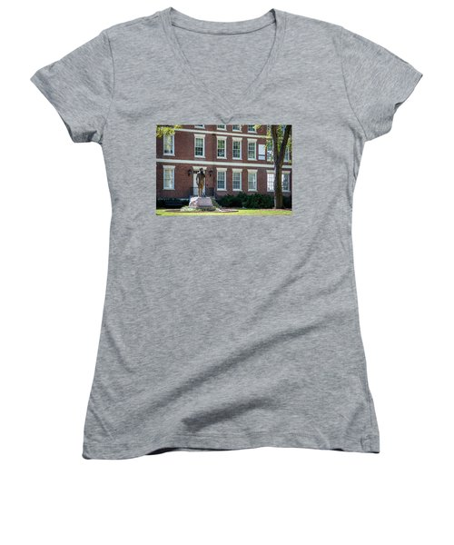 Women's V-Neck T-Shirt (Junior Cut) featuring the photograph Abraham Baldwin Statue At Uga by Parker Cunningham