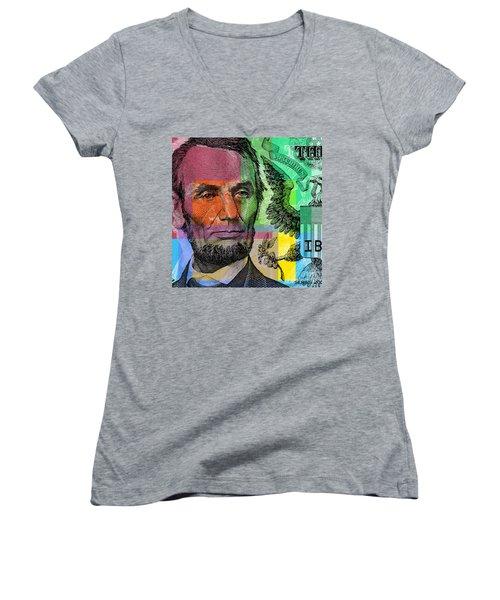 Abraham Lincoln - $5 Bill Women's V-Neck