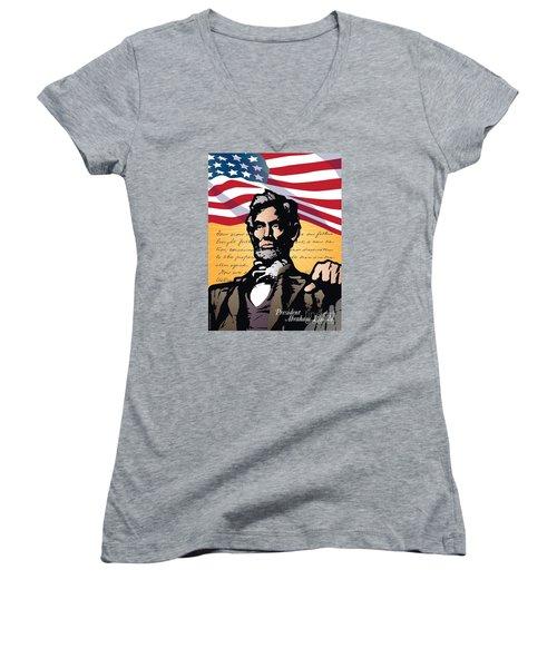 Abraham Lincoln, Gettysburg Address Women's V-Neck (Athletic Fit)