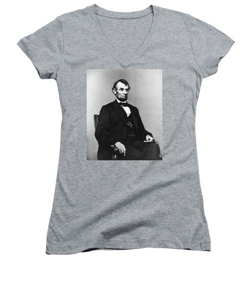 Women's V-Neck T-Shirt (Junior Cut) featuring the photograph Abraham Lincoln Portrait - Used For The Five Dollar Bill - C 1864 by International  Images