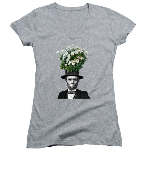 Abraham Lincoln Presidential Daisies Women's V-Neck T-Shirt (Junior Cut) by Garaga Designs