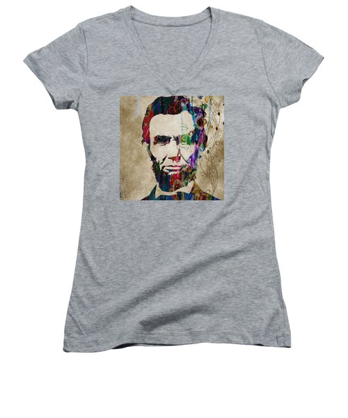 Abraham Lincoln Watercolor Modern Abstract Pop Art Color Women's V-Neck (Athletic Fit)