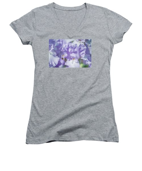Absolute Treasure Closeup. The Beauty Of Irises Women's V-Neck