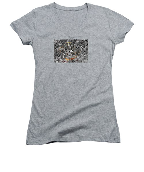 Women's V-Neck T-Shirt (Junior Cut) featuring the digital art Absorption by Leo Symon