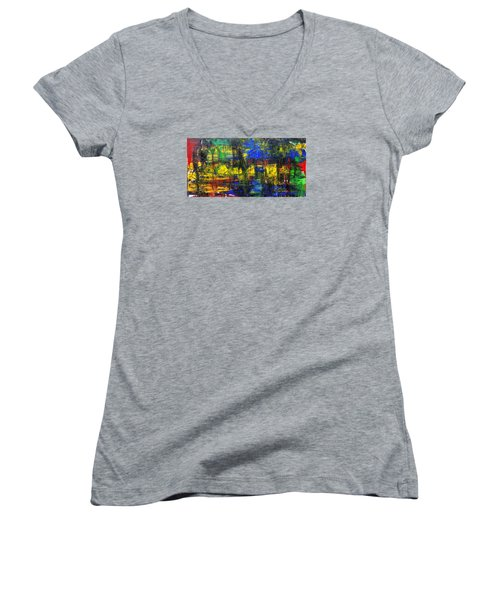 Abstract # 2  Women's V-Neck T-Shirt (Junior Cut) by Rich Franco