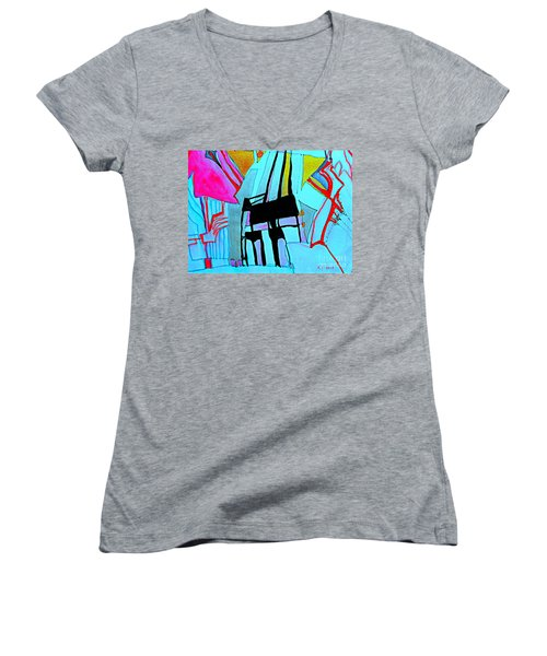 Abstract-28 Women's V-Neck