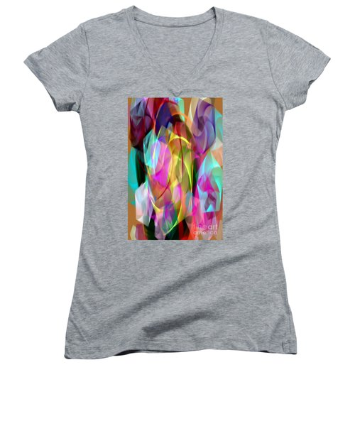 Women's V-Neck T-Shirt featuring the digital art Abstract 3366 by Rafael Salazar