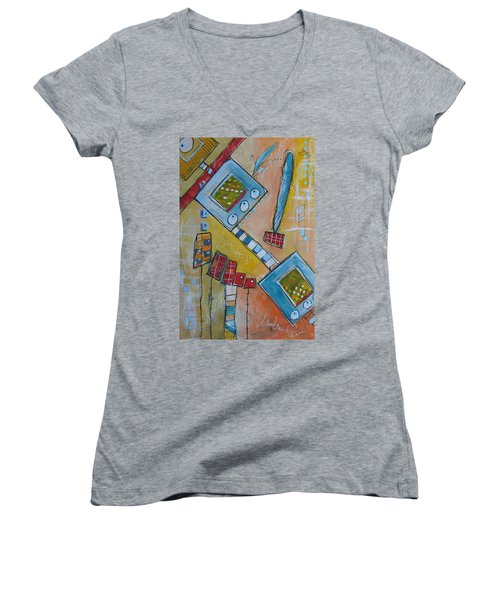 Abstract 74 Women's V-Neck