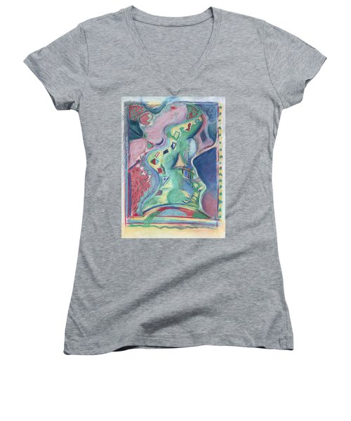 Women's V-Neck T-Shirt (Junior Cut) featuring the painting Abstract 92 - Inner Landscape by Kerryn Madsen- Pietsch