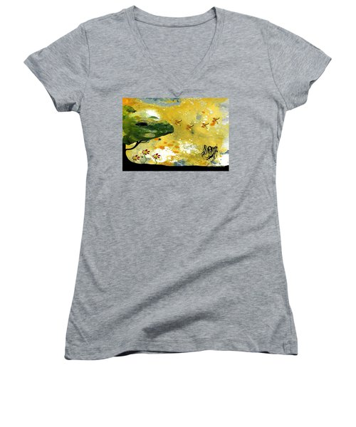 Abstract Acrylic Painting Spring Dance Women's V-Neck T-Shirt (Junior Cut) by Saribelle Rodriguez