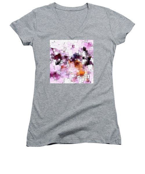 Abstract And Minimalist Art Made Of Geometric Shapes Women's V-Neck T-Shirt (Junior Cut) by Ayse Deniz
