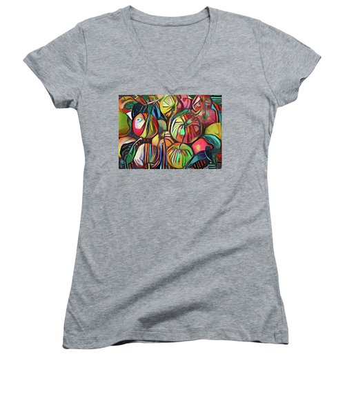 Abstract Apples Women's V-Neck (Athletic Fit)