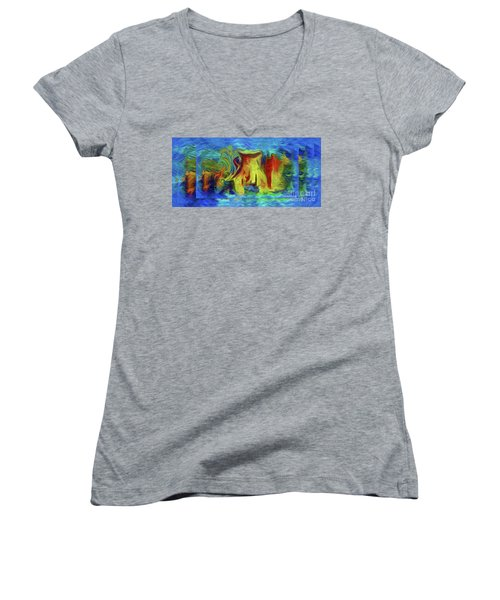 Abstract Artgo With The Flow Women's V-Neck T-Shirt (Junior Cut) by Sherri's Of Palm Springs