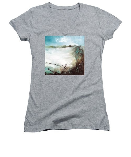 Abstract Barbwire Pasture Landscape Women's V-Neck T-Shirt (Junior Cut) by Michele Carter