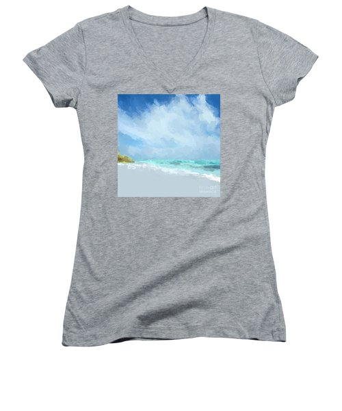 Abstract Beach Afternoon  Women's V-Neck T-Shirt (Junior Cut) by Anthony Fishburne