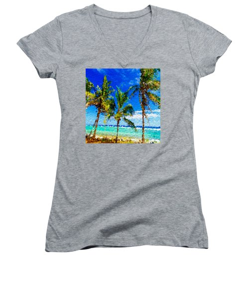 Abstract Beach Palmettos Women's V-Neck T-Shirt (Junior Cut) by Anthony Fishburne