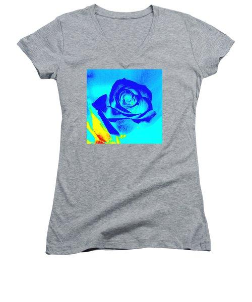 Single Blue Rose Abstract Women's V-Neck