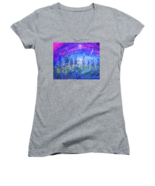 Abstract Bluebonnets Women's V-Neck