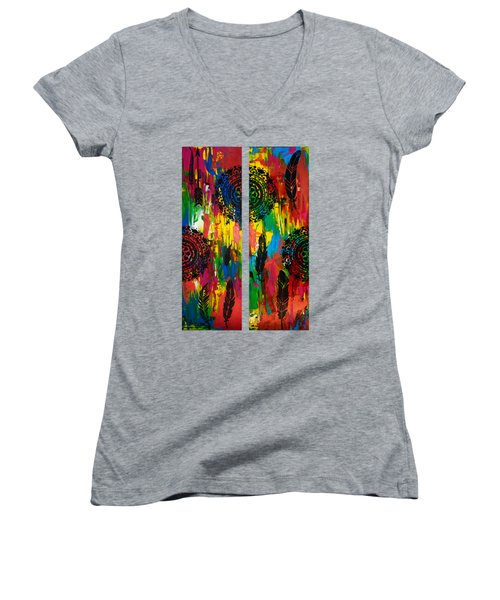 Abstract Boho Design - Diptych By Nikki And Kaye Menner Women's V-Neck (Athletic Fit)