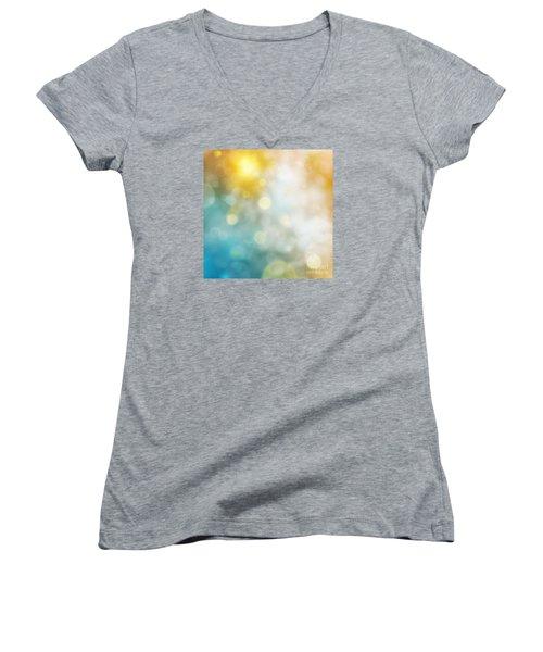 Abstract Bokeh Women's V-Neck T-Shirt (Junior Cut) by Atiketta Sangasaeng