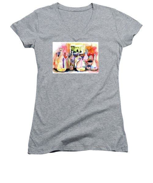 Women's V-Neck T-Shirt (Junior Cut) featuring the painting Abstract Containers by Terry Banderas
