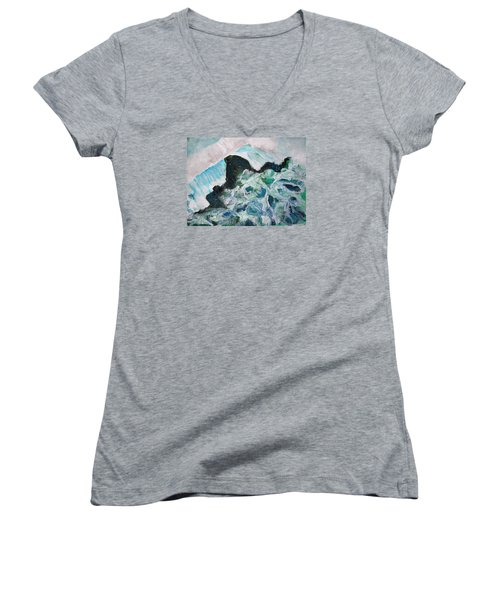 Abstract Crashing Waves Women's V-Neck (Athletic Fit)
