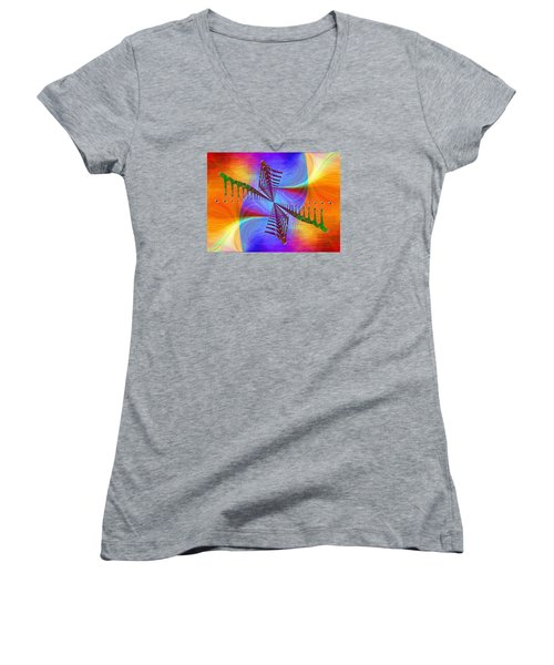 Women's V-Neck T-Shirt (Junior Cut) featuring the digital art Abstract Cubed 372 by Tim Allen