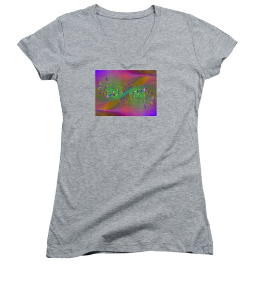 Women's V-Neck T-Shirt (Junior Cut) featuring the digital art Abstract Cubed 376 by Tim Allen
