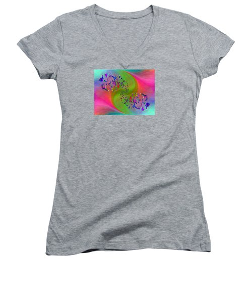 Women's V-Neck T-Shirt (Junior Cut) featuring the digital art Abstract Cubed 381 by Tim Allen
