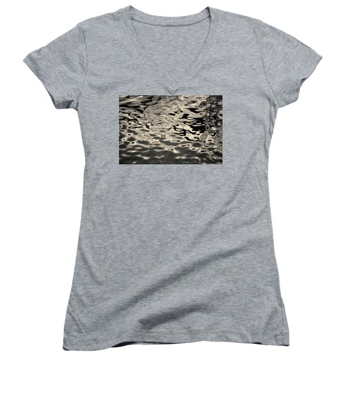 Abstract Dock Reflections I Toned Women's V-Neck (Athletic Fit)