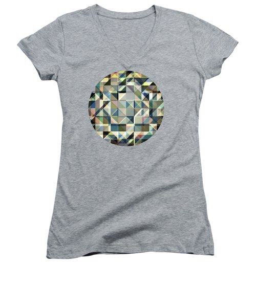 Abstract Earth Tone Grid Women's V-Neck T-Shirt (Junior Cut) by Phil Perkins