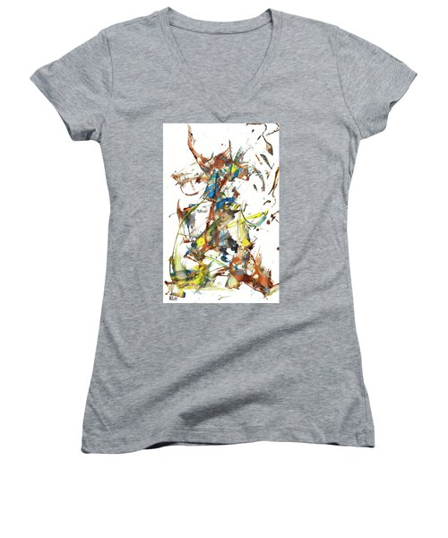 Women's V-Neck T-Shirt featuring the painting Abstract Expressionism Painting Series 1040.050812 by Kris Haas