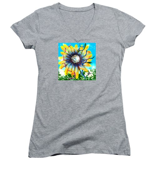 Women's V-Neck T-Shirt featuring the digital art Abstract Flower by Darren Cannell