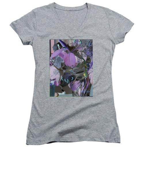 Abstract Flowers Of Light Series #12 Women's V-Neck