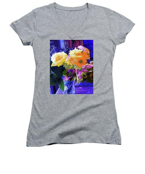 Abstract Flowers Of Light Series #7 Women's V-Neck