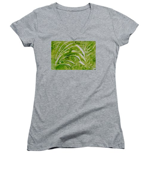 Abstract Green And White Leaves And Grass Women's V-Neck