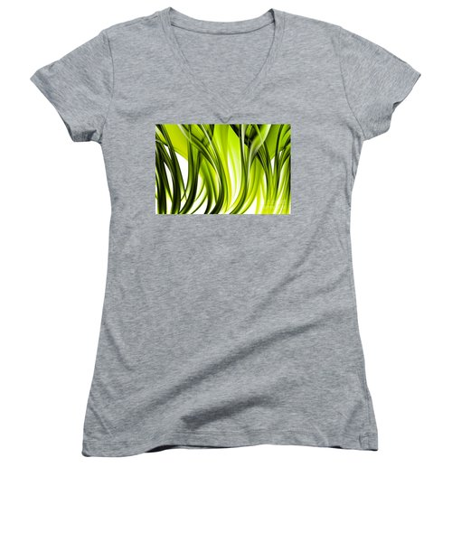 Abstract Green Grass Look Women's V-Neck (Athletic Fit)