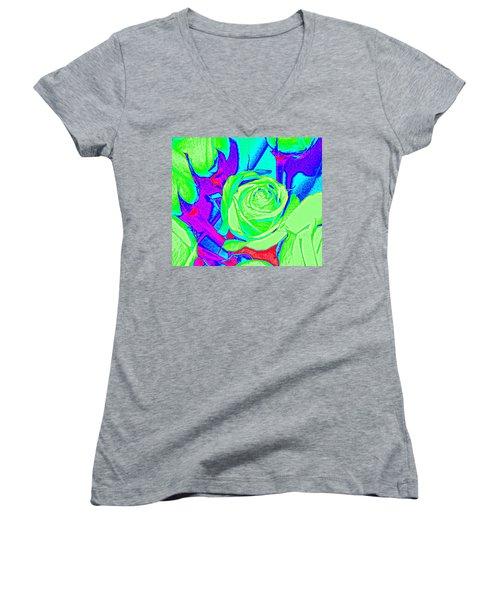 Abstract Green Roses Women's V-Neck
