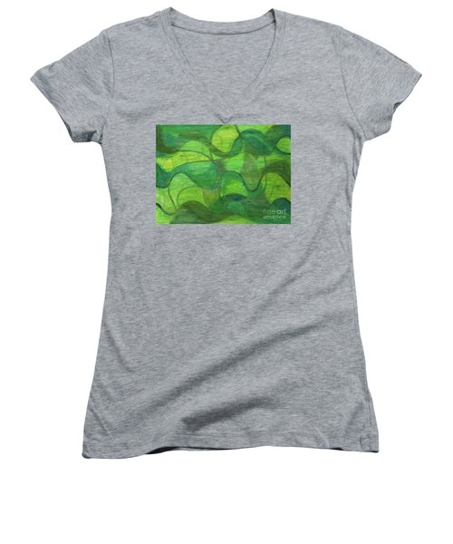 Abstract Green Wave Connection Women's V-Neck