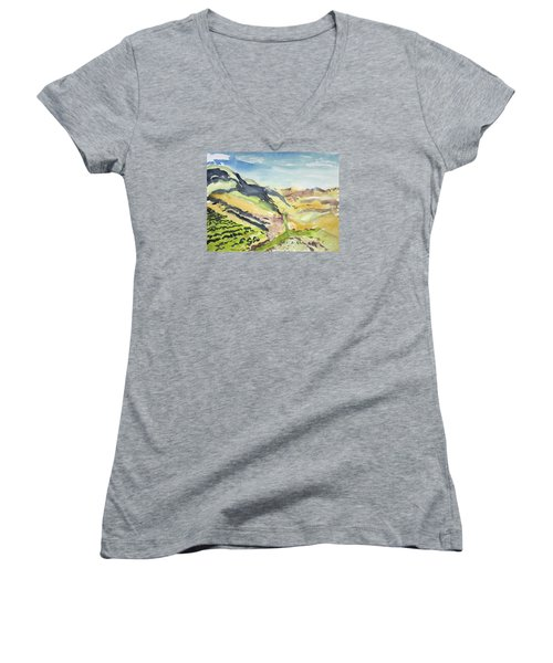 Abstract Hillside Women's V-Neck (Athletic Fit)