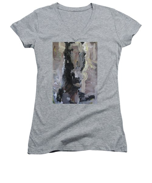 Abstract Horse Painting Women's V-Neck T-Shirt (Junior Cut) by Robert Joyner