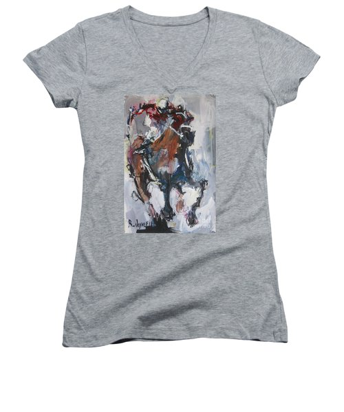 Abstract Horse Racing Painting Women's V-Neck T-Shirt (Junior Cut) by Robert Joyner