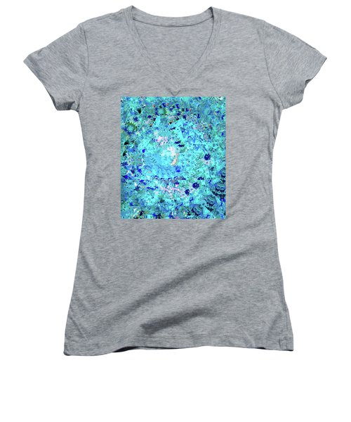 Abstract In Blue No. 56-2 Women's V-Neck T-Shirt