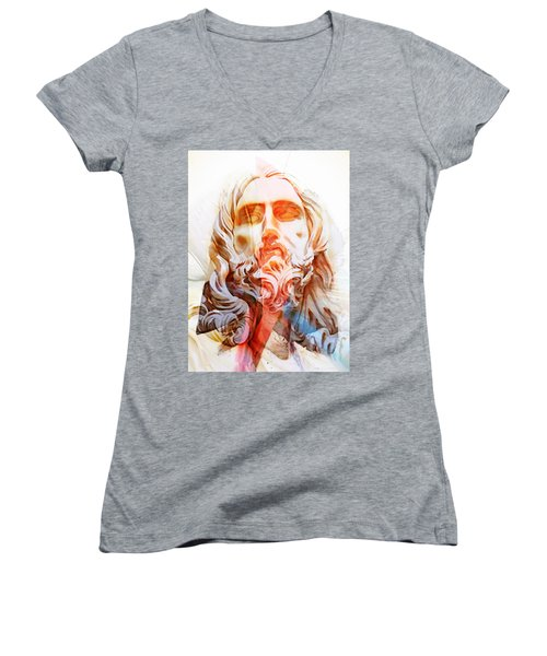 Women's V-Neck T-Shirt (Junior Cut) featuring the painting Abstract Jesus 2 by J- J- Espinoza